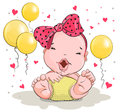 Little girl with big bow and balloons