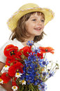 Little girl with big bunch of of wild flowers Royalty Free Stock Photography
