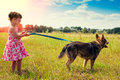 Little girl with big dog Royalty Free Stock Photo