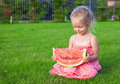 Little girl with big piece of watermelon in hands on green grass this image has attached release Stock Image