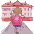 Little girl with big school bag standing towards school building cartoon illustration in outline style of Royalty Free Stock Photo