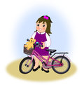Little girl with bike a happy a pink or purple Stock Images
