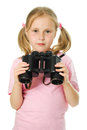 Little girl with binoculars Royalty Free Stock Image
