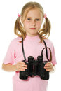 Little girl with binoculars Royalty Free Stock Photos