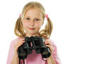 Little girl with binoculars Royalty Free Stock Images