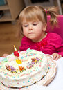 Little Girl and Birthday Cake Royalty Free Stock Photo