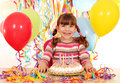 Little girl with birthday cake happy Stock Photography