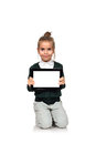 Little girl  with blank touch pad Royalty Free Stock Photo