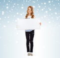 Little girl with blank white board Stock Photography