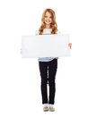 Little girl with blank white board education and concept Royalty Free Stock Image