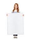 Little girl with blank white board education and concept Stock Image