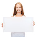 Little girl with blank white board education and concept Royalty Free Stock Photography