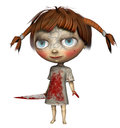Little girl in a bloodied dress d render of Stock Photography