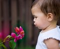 Little girl blowing flower baby bougainvillea outdoors Stock Image