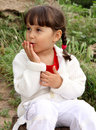 Little girl blows kisses Royalty Free Stock Image