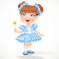 Little girl in a blue  ballet tutu and magic wand Stock Image