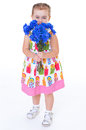 Little girl with blue flowers baby girlie lass female child lassie concept cute sweeps a floor isolated on white Royalty Free Stock Image