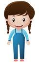 Little girl in blue overall