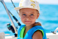 Little girl on the boat fishing Royalty Free Stock Photo