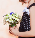 Little girl with bouquet roses Royalty Free Stock Photo
