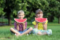 Little girl and boy eat watermelon in park Royalty Free Stock Photos