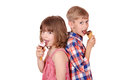 Little girl and boy eating ice cream happy Royalty Free Stock Photos
