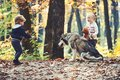 Little girl and boy friends play with husky pet in woods. Children training dog in autumn forest. Friendship and child Royalty Free Stock Photo