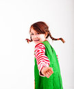 Little girl with braids dressed up as pippi longstocking white background Royalty Free Stock Image