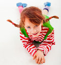 Little girl with braids dressed up as pippi longstocking white background Royalty Free Stock Photos