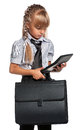Little girl with briefcase in school uniform and calculator isolated on white background Stock Image