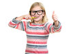 Little girl brushing her teeth isolated on white background Royalty Free Stock Photo