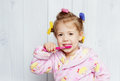Little girl brushing her teeth Royalty Free Stock Photo