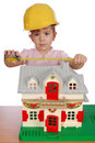 Little girl builder Stock Photo
