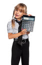 Little girl with calculator in school uniform isolated on white background Stock Images