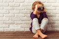 Little girl with camera Royalty Free Stock Photo