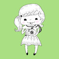 Little girl with camera in doodle style vector illustration Stock Photos