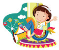 Little girl on carousel horse vector cartoon illustration Stock Photography