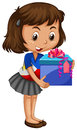Little girl carrying box of present