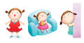 Little girl cartoons three standing and talking sitting and eating peeking around a door or wall Stock Photo