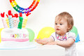 Little girl celebrating first birthday Stock Images