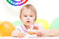 Little girl celebrating first birthday Stock Photo