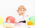 Little girl celebrating second birthday Stock Photo