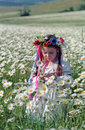 Little girl on chamomile field Stock Images