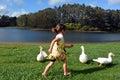 Little girl chasing wild duck ducks beside a lake Stock Photo