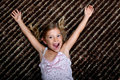 Little girl cheering with delight Royalty Free Stock Photo