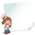 Little girl chef showing a recipe wearing uniform and pointing at written on post it note Stock Photography