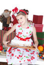 Little girl with Christmas cake over white Stock Photography