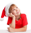 Little girl in christmas hat Royalty Free Stock Photography