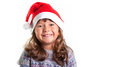 Little girl on christmas isolated in white Royalty Free Stock Images