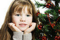 Little girl with christmas tree Royalty Free Stock Photo